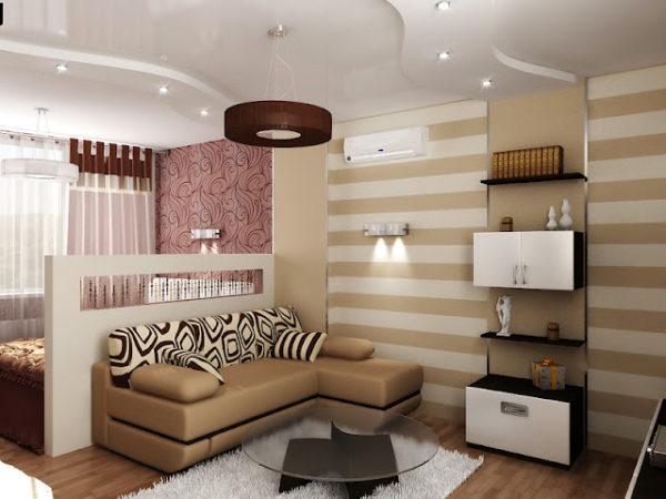 зонирование помещения с помощью обоев