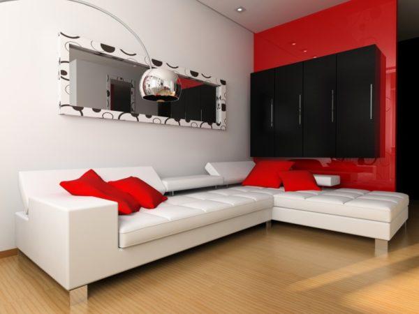 большой угловой диван красного цвета