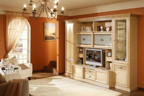 Корпусная мебель со стеклом для гостинной