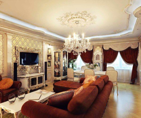 Кожаные диваны и коричневые портьеры в гостиной