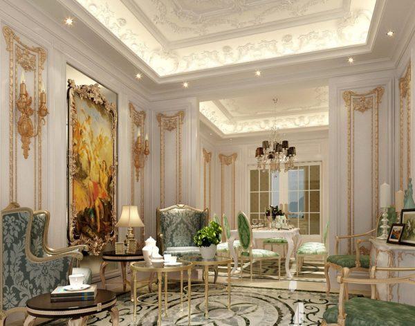 Зеленые и коричневые элементы в оформлении гостинной