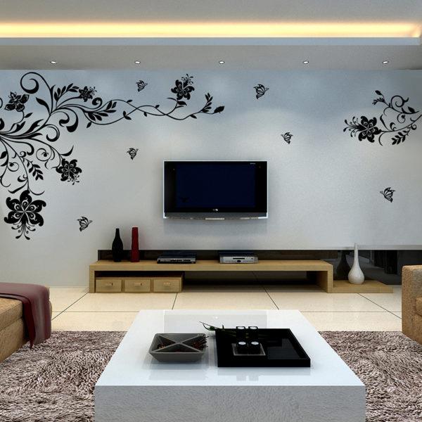 Виниловые наклейки на стену в гостиной