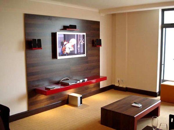 Гостиная с темной панелью для телевизора