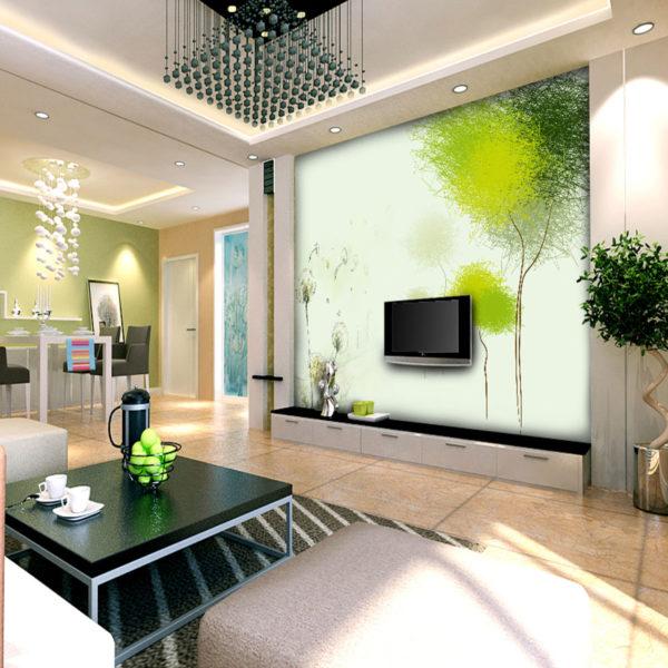 Гостиная с 3D обоями и телевизором в зеленых тонах