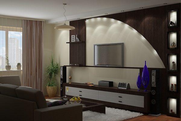 Закругленная деревянная конструкция в гостиной