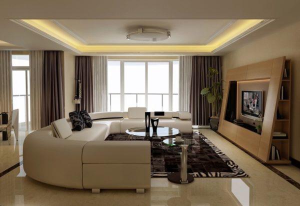 Сложная деревянная конструкция в гостиной с телевизором