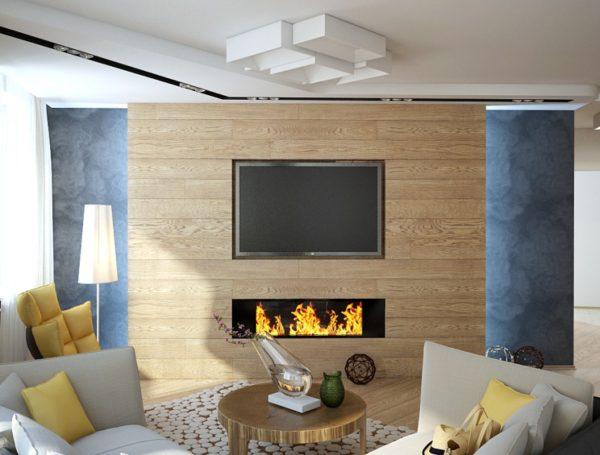 Гостиная с камином и телевизором на деревянной плите