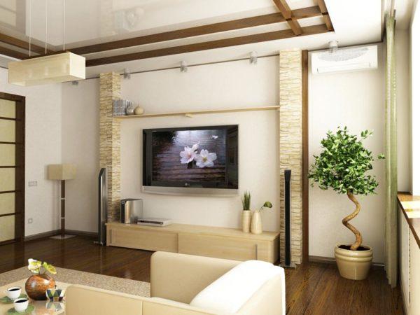 Телевизор со сложной конструкцией в гостиной