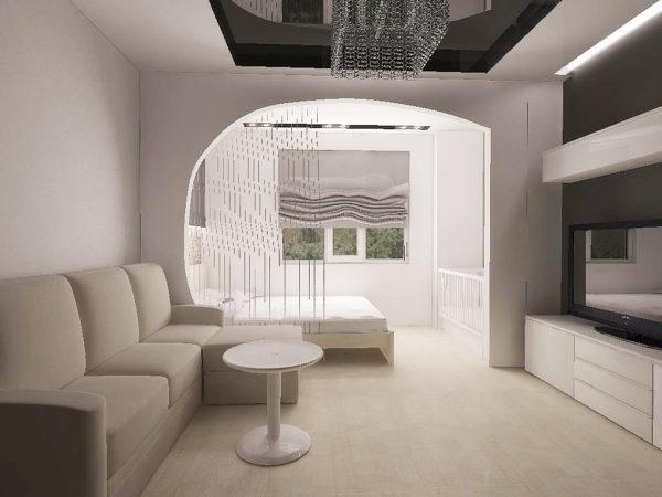 Гостиная-спальня с массивной перегородкой