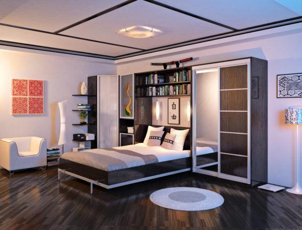 Встроенная кровать в гостиной - современный дизайн