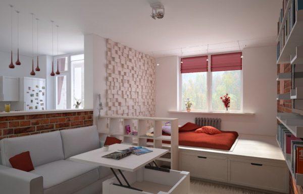 Гостиная-спальня с подиумом для кровати