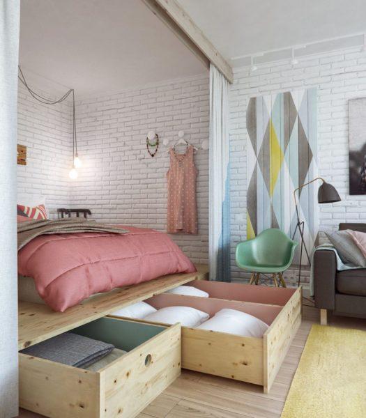 Подиум для кровати с ящиками для вещей