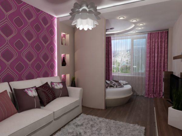 Фиолетовая гостиная с зоной отдыха