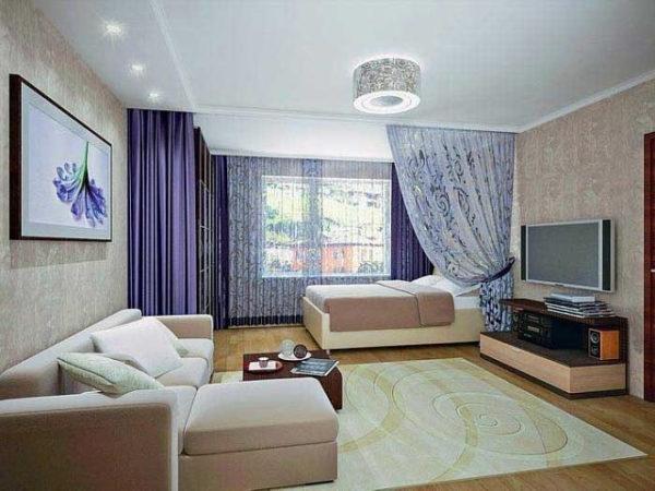 Гостиная с угловым диваном и спальной зоной