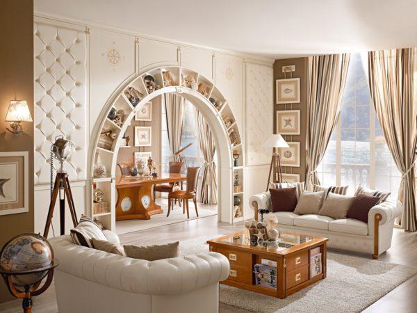 арка со встроенными по длине полочками